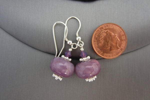 """Purple Storm"" Glass & 925 Sterling Silver Earrings"