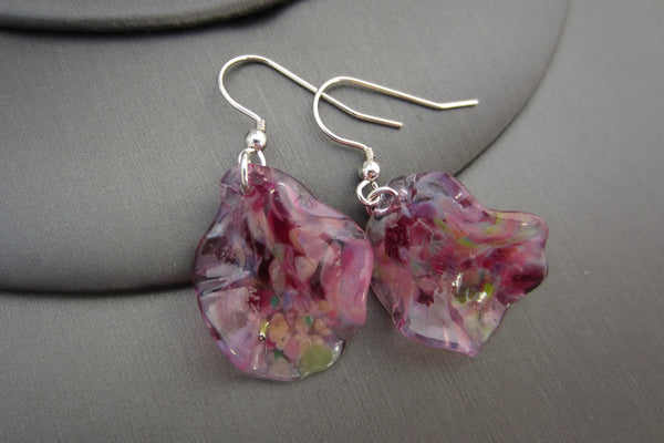 """Pink Frills"" Glass & 925 Sterling Silver Earrings"