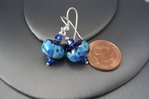 """Mosaic Blue"" Glass & 925 Sterling Silver Earrings"