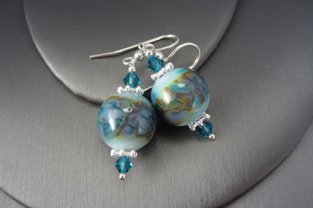 """Silvered Turquoise"" Glass & 925 Sterling Silver Earrings"