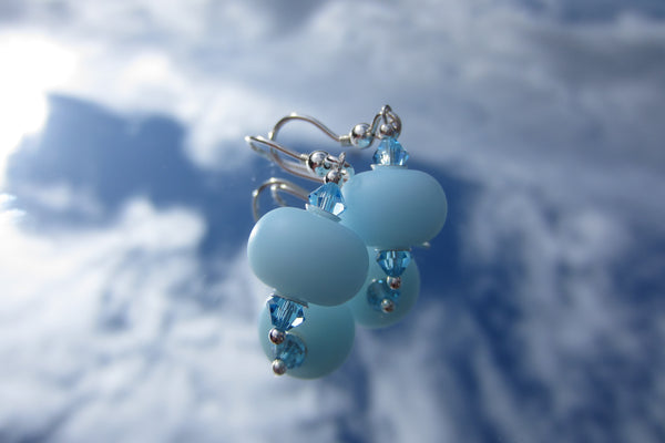 """Softest Blue"" Glass & 925 Sterling Silver Earrings"
