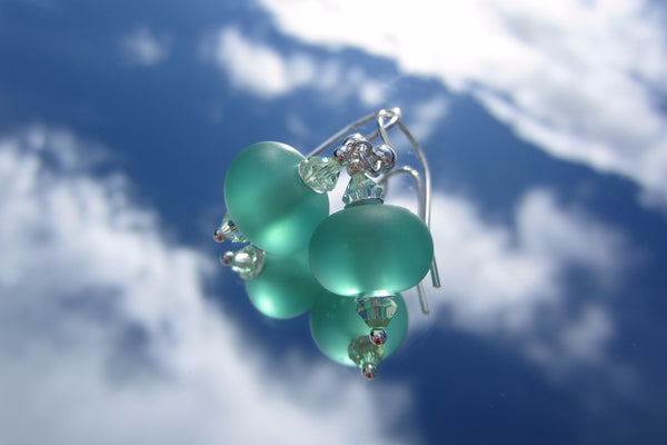 """Ocean Green"" Glass & 925 Sterling Silver Earrings"