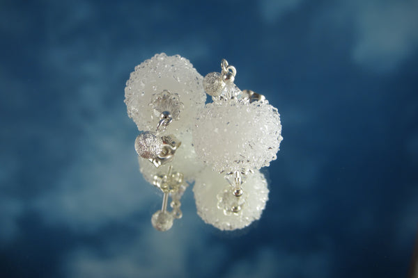 "'Snowballs!"" Glass & 925 Sterling Silver Earrings"