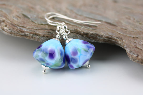 """Summer Skies"" Glass & 925 Sterling Silver Earrings"