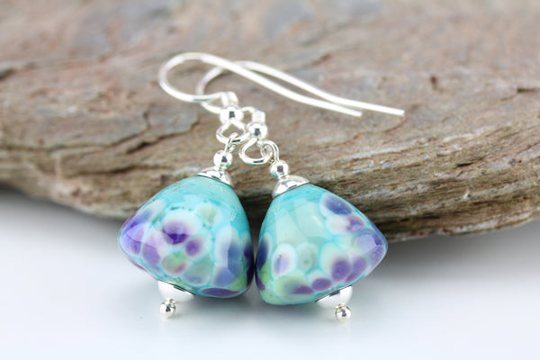 """Mint Sundae"" Glass & 925 Sterling Silver Earrings"