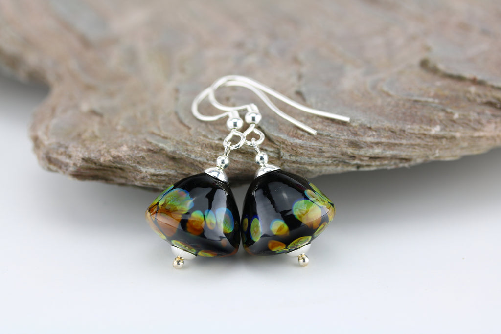 """Night Embers"" Glass & 925 Sterling Silver Earrings"