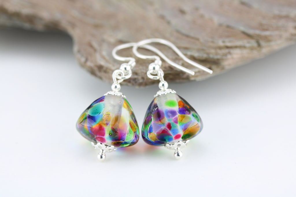"""Rainbow Window"" Glass & 925 Sterling Silver Earrings"