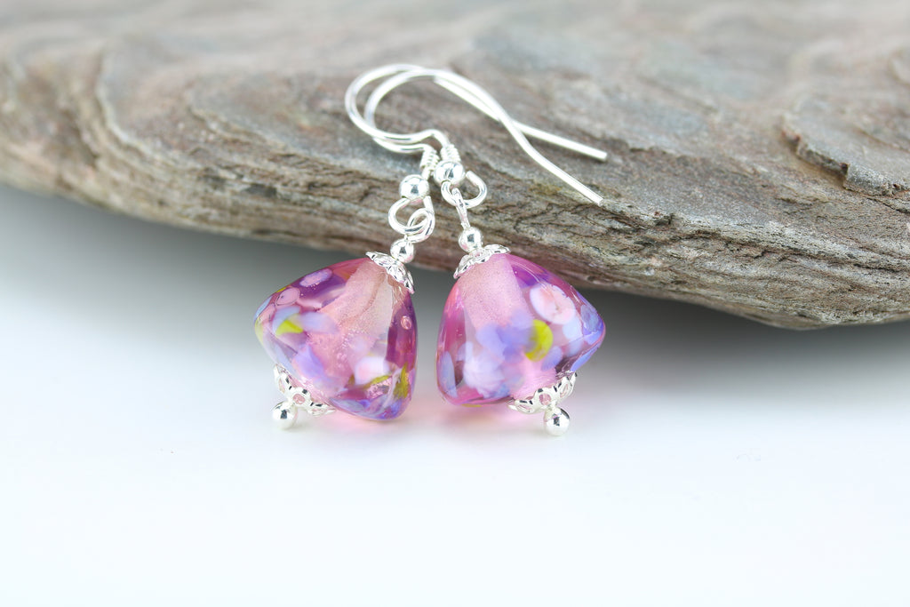 """Pink Posy"" Glass & 925 Sterling Silver Earrings"