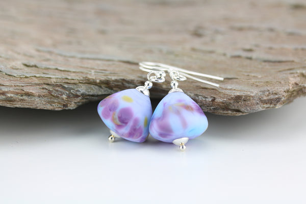 """Pastel Lilacs"" Glass & 925 Sterling Silver Earrings"