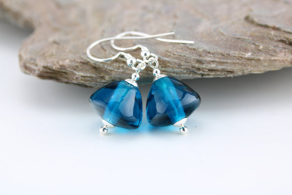 """Ocean Teal"" Glass & 925 Sterling Silver Earrings"