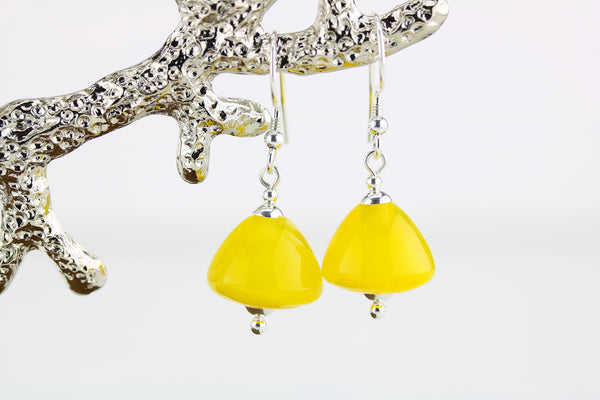 """Sunshine Swirl"" Glass & 925 Sterling Silver Earrings"