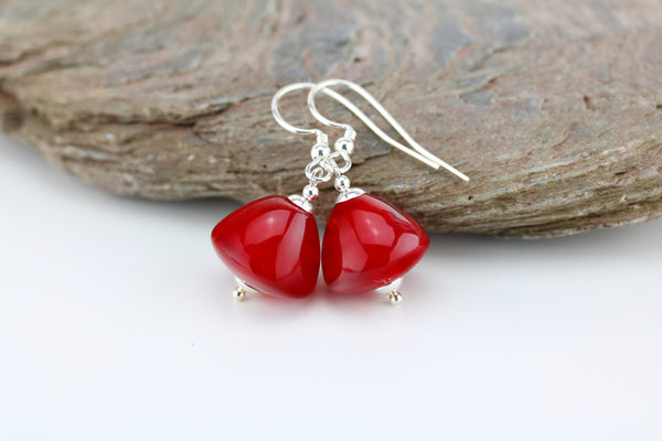 """Berry Red"" Glass & 925 Sterling Silver Earrings"