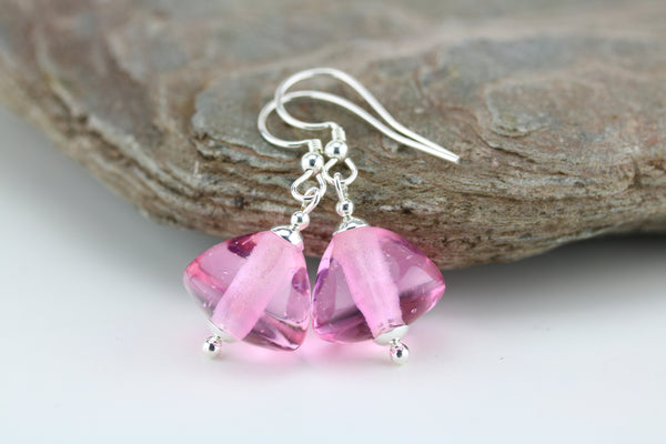 """Simply Pink"" Glass & 925 Sterling Silver Earrings"