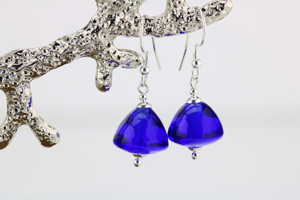 """Royal Blue"" Glass & 925 Sterling Silver Earrings"