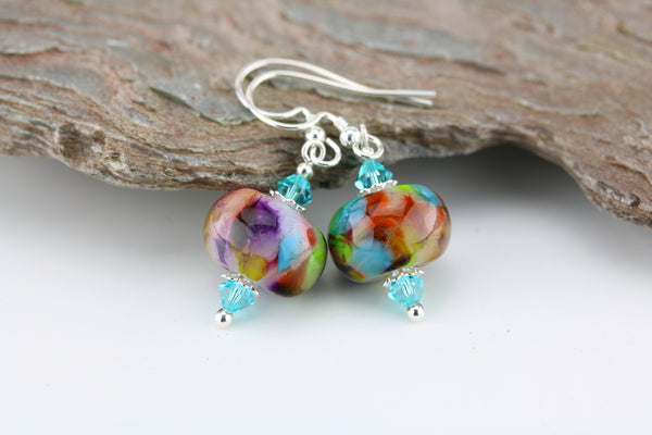 """Summer Fiesta"" Glass & 925 Sterling Silver Earrings"