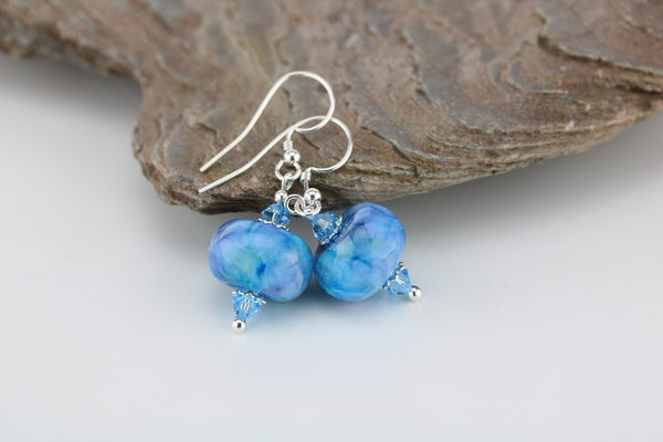 """Island Waters"" Glass & 925 Sterling Silver Earrings"