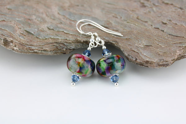 """Denim Delight"" Glass & 925 Sterling Silver Earrings"