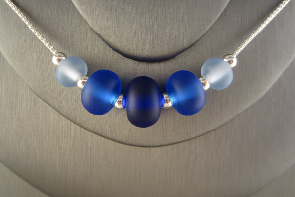 """Shades of Blue"" Sea Glass Fine 925 Silver Necklace"