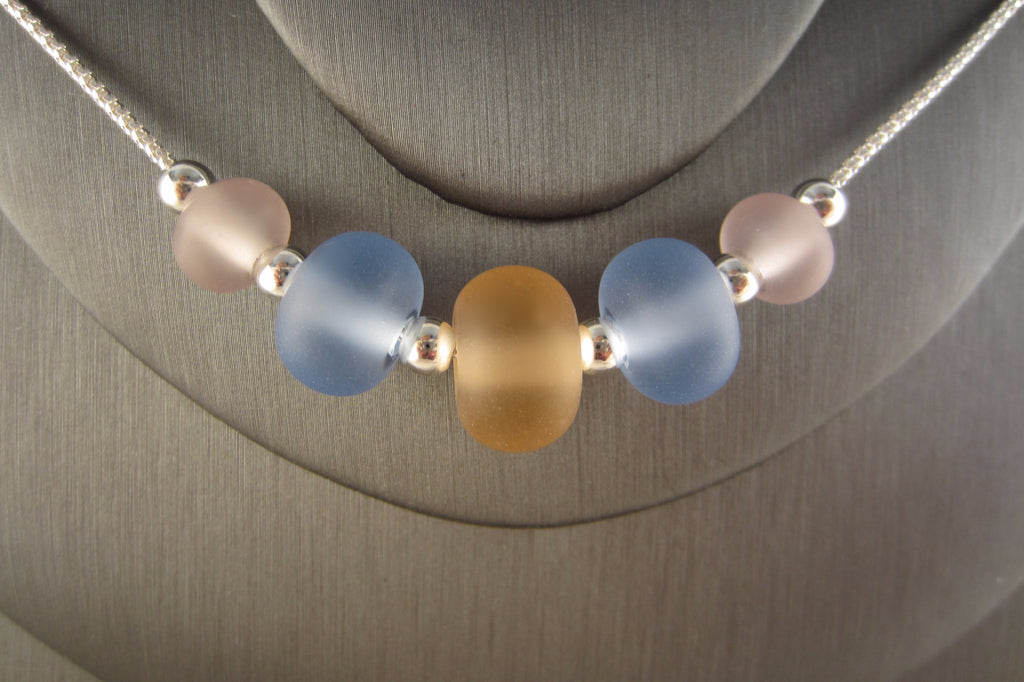 """Simply Pastels"" Sea Glass Fine 925 Silver Necklace"