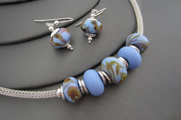 """Cornflower Garden"" Sea Glass Necklace & Earrings Set"