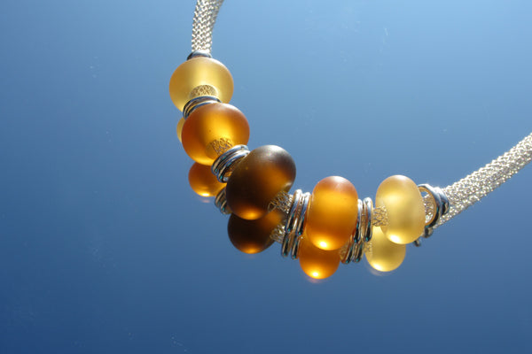 """Shades of Amber"" Sea Glass Fine 925 Silver Necklace"