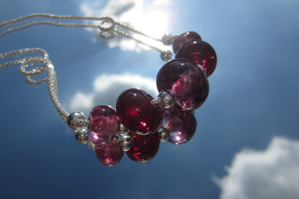 """Seriously Pink"" Glass & 925 Sterling Silver Necklace"