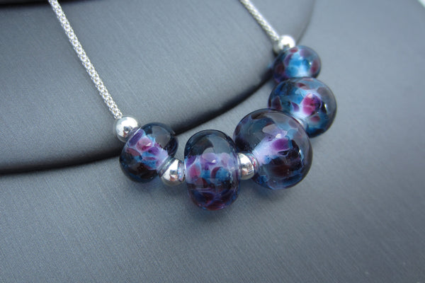 """Blue Meets Pink"" Glass & 925 Sterling Silver Necklace"