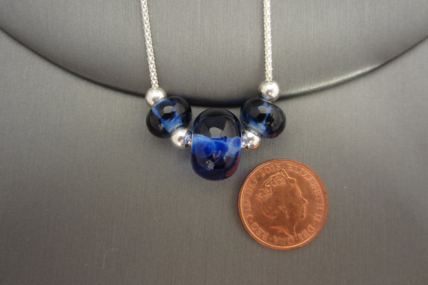 """Dappled Blue"" Glass & 925 Sterling Silver Necklace"