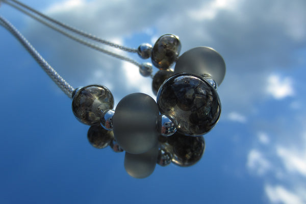 """Metallic Mottle"" Glass & 925 Sterling Silver Necklace"