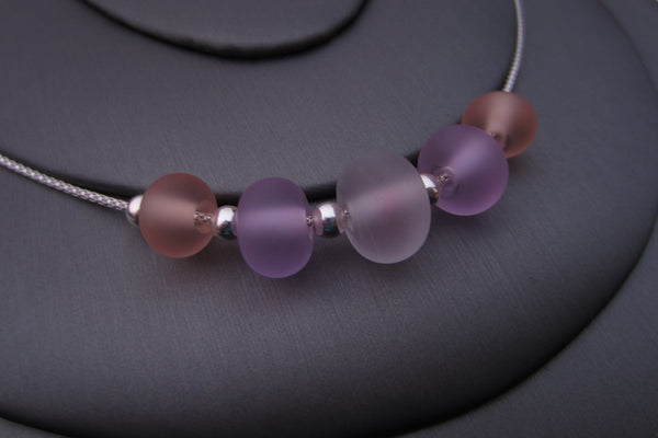 """Pink Peach"" Sea Glass Fine 925 Silver Necklace"