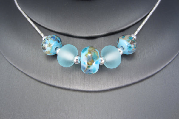 """Tropical Seas"" Glass & 925 Sterling Silver Necklace"