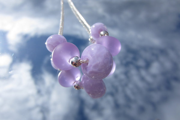 """Lilac Blossom"" Glass & 925 Sterling Silver Necklace"