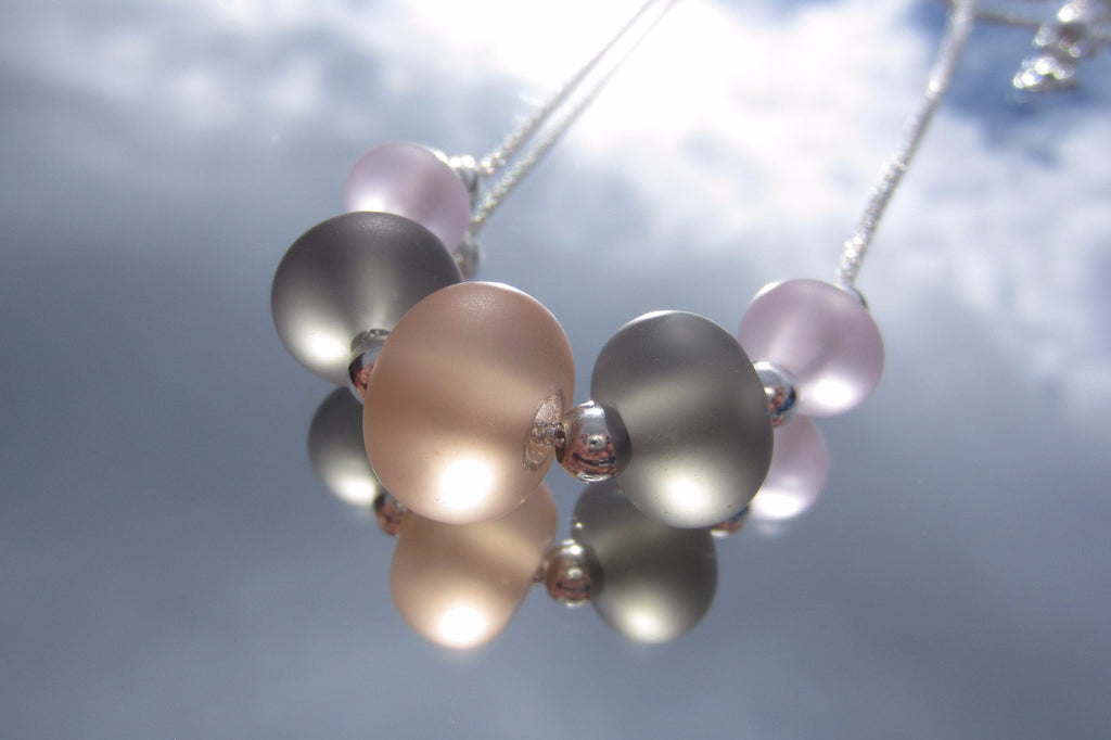 """Romantic Pastels"" Glass & 925 Sterling Silver Necklace"