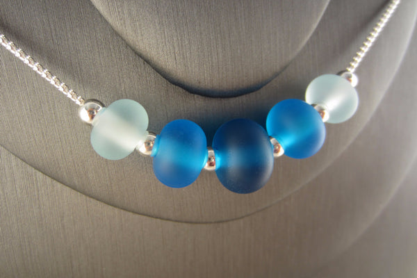 """Aqua Glow"" Sea Glass Fine 925 Silver Necklace"