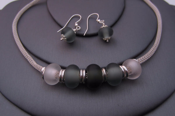 """Mono Chic"" Sea Glass Necklace & Earrings Set"