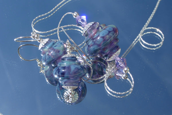 """Lilac Blues"" Baroque Glass & 925 Sterling Silver Necklace & Earrings Set"