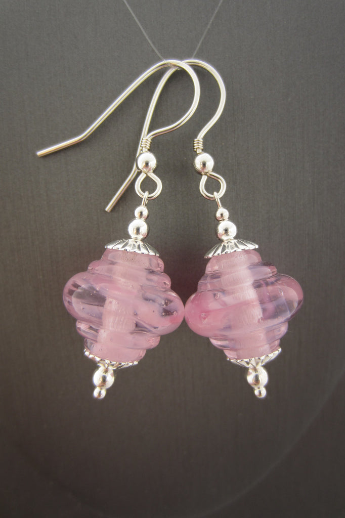 """Soft Pinks"" Glass & 925 Sterling Silver Earrings"