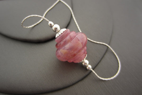 """Pink Lilac"" Baroque Glass & 925 Sterling Silver Necklace"