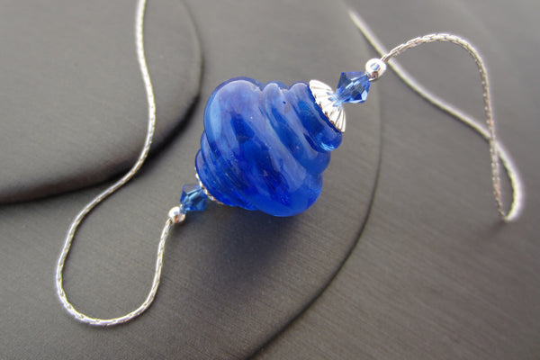 """Blue Swirl"" Baroque Glass & 925 Sterling Silver Necklace"