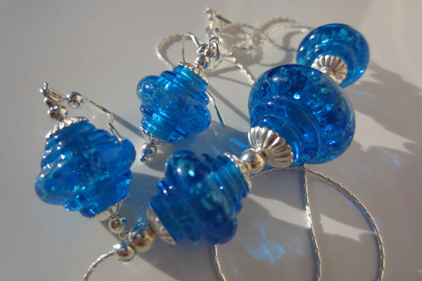 """Blue Sparkle"" Baroque Glass & 925 Sterling Silver Necklace & Earrings Set"