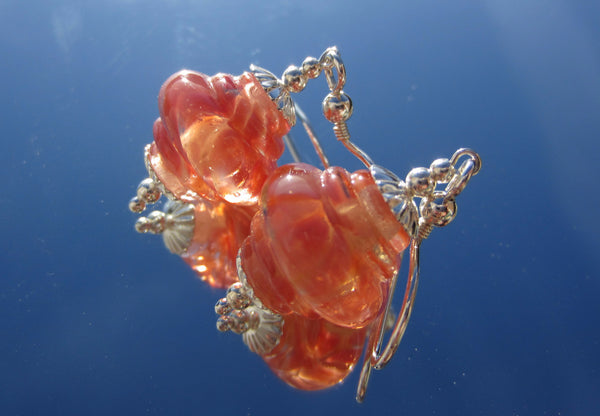 """Peachy Pink"" Baroque Glass & 925 Sterling Silver Earrings"