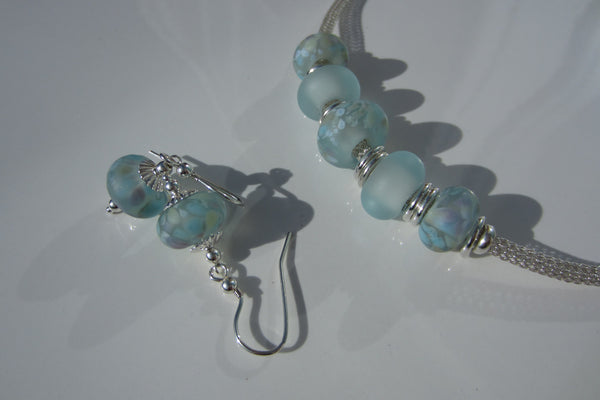 """Sea Swept"" Sea Glass Necklace & Earrings Set"