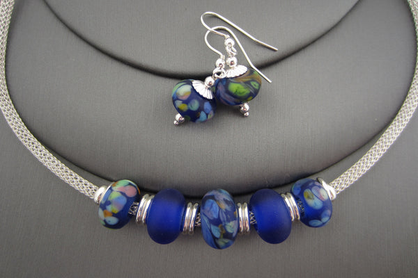 """Blue Bouquet"" Sea Glass Necklace & Earrings Set"