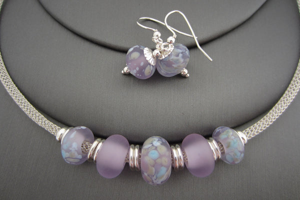 """Lilac Bloom"" Sea Glass Necklace & Earrings Set"