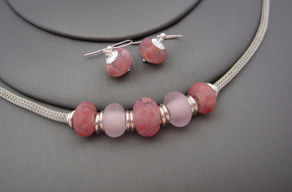 """Pink Pastel"" Sea Glass Necklace & Earrings Set"