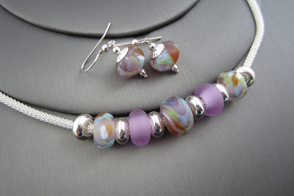 """Lilac Garden"" Sea Glass Necklace & Earrings Set"