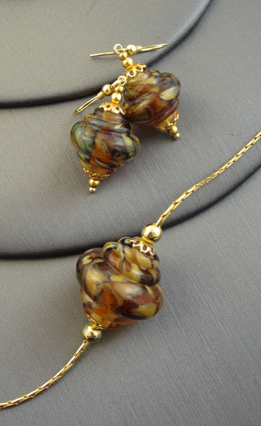 """Maple Swirl"" Vermeil 925 Silver Baroque Necklace & Earrings Set"