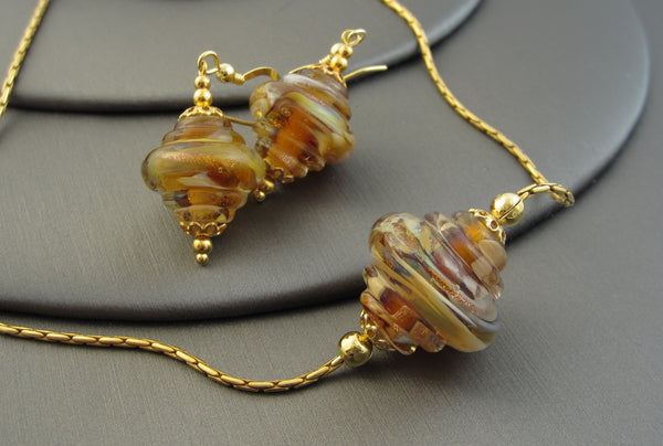 """Caramel Sparkle"" Vermeil 925 Silver Baroque Necklace & Earrings Set"