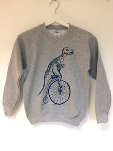 Kids Blue T-rex on a Pennyfarthing Sweatshirt