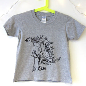 Kids Stegosaurs on a Scooter T-shirt